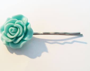♥ Barrette hair - pin in light blue resin ♥