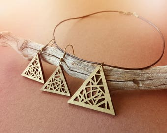 Gold Geometric Wooden Triangle Necklace & Earrings Set / Laser Engraved Wood With Brown Leather Cord And Bronze Fish Hook Earrings