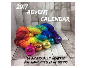 Hand dyed yarn advent calendar mini skeins PRE-ORDER Choice of yarn bases/ knitting/ crochet/ Christmas