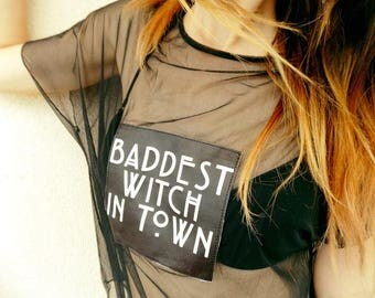 Handmade Goth Tulle Baddest Witch In Town T-shirt/ Goth Tulle T-shirt/Witch T-shirt/Witch Tulle Goth T-shirt/Baddest Witch T-shirt