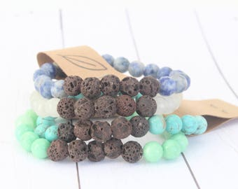 Lava Stone Essential Oil Diffuser Bracelet, Fancy Jasper, Sodalite, Quartz, Aqua Quartz, Howlite, All Natural, Gift, Meditate, Holistic