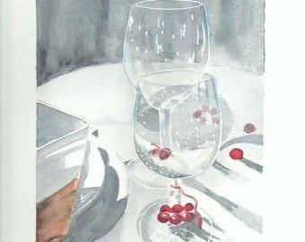 challenge nov.2014 Christmas watercolor: festive table