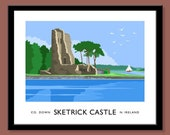 Sketrick Castle, County Down - vintage style railway travel poster art of Ireland