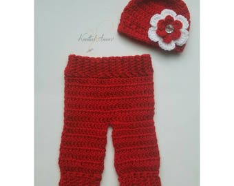 Crochet Baby Girl Coming Home Outfit, Ready To Ship, Crochet Newborn Pants , Baby Girl Christmas Outfit, Baby Girl Hat, Baby Shower