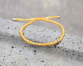 Women yellow Friendship Bracelet Cord Bracelet Adjustable Bracelet Gift For Her Handmade Bracelet Beaded Jewelry Silver Jewelry Wax Cord