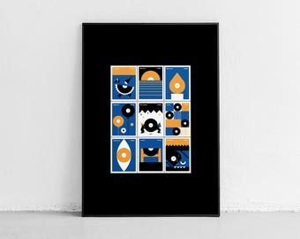 Music Stamps. Wall art. Original poster. High quality giclée print. signed by designer.