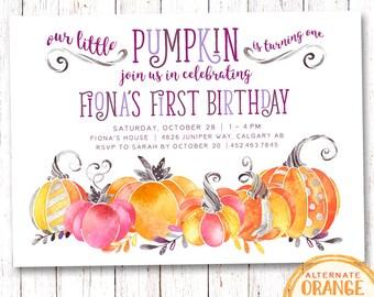 Pumpkin Birthday Invitation, Halloween Birthday Invitation, Halloween Party Invitation, Pumpkin Invitation, Fall Birthday Invitation, Autumn