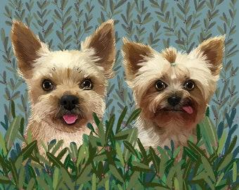 Pet portrait, Custom pet portrait, Birthday Gift, Personalized Pet, Cat Memorial, Custom Illustration, Dog Portrait, Cat Portrait, Petlover