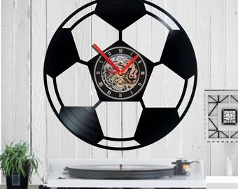 Vinyl clock, soccer Ball, football, soccer clock, gift for soccer fan, quartz, vinyl, birthday, gift, funny, wall clock, housewarming,