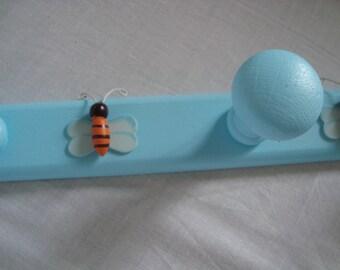 Blue bee peg coat rack