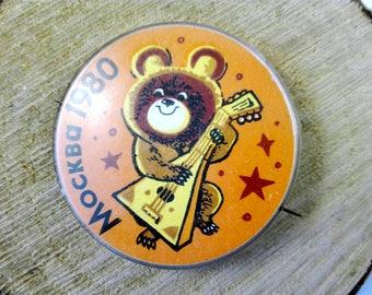 Soviet vintage Pin Badges Olympics badges USSR vintage Badges Moscow olympics symbol Olympic bear Misha bear Olympics memorabilia