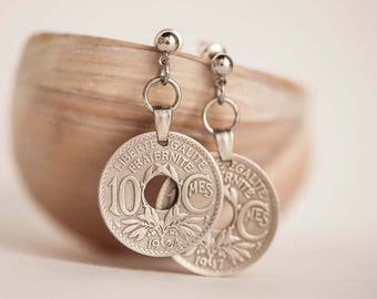 France Coin Earrings. French Coins, 10 Cents. Handmade