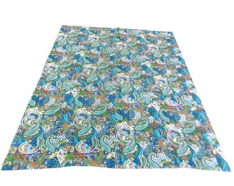 Paisley Design Indigo Handmade Kantha Throw Bedspread Reversible Vintage Quilt in Multi Color