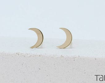 14k Solid Gold, Moon Gold Earrings, Gold Stud Earrings, Gold Moon Earrings, Dainty Jewelry, Solid Gold Moon, Gift For Her, Romantic Gift