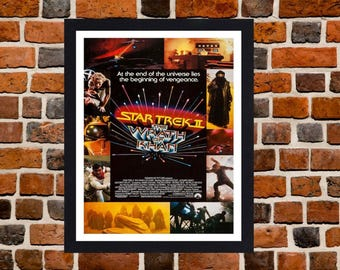 Framed Star Trek II: The Wrath of Khan Movie / Film Poster A3 Size Mounted In Black Or White Frame (Version - 1)