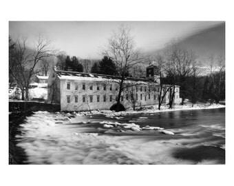 Rural Landscape Photograph Winter at Powder Mill - Fine Art Canvas - Home Decor Wall Art Prints Unframed