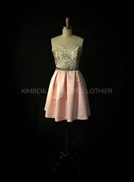 Short  Gold Sequin Bridesmaid -Damask Bodice, Blush bridesmaid, Prom Dress