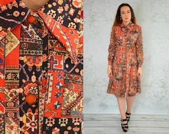 Baroque dress Secretary red retro dress boho midi bohmian empire waist vintage Button Up long sleeves collar L Large size