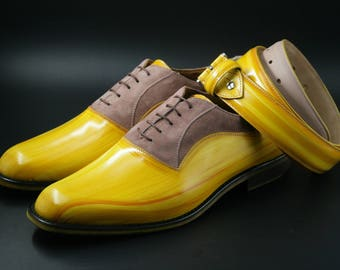 Leather man patina shoes, yellow (goose beak effect), face powder color suede, Oxford, hand painted. made in Italy