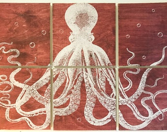 24x36 squid screen printed with red stain