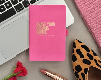 Personalised Chase Your Dreams Leather Notebook