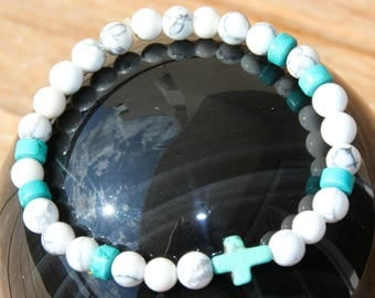 Blue and white howlite bracelet dyed