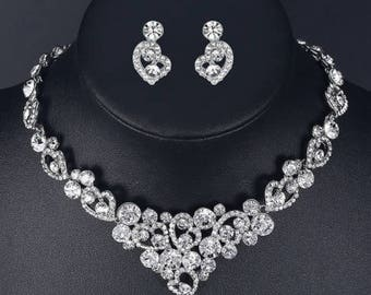 Bridal Necklace Set, Crystal Necklace Set, Diamond Necklace Set, Prom Jewelry, Bridesmaid Gift, Bridesmaid Necklace Set
