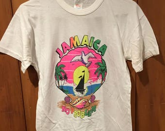 Vintage Jamaica Men's XS/Small Jamaica No Problem Sunset Sailing 80s 90s Tourist Travel Sun Club White T Shirt