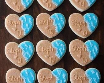 Beach Wedding Favor Decorated Sugar Cookies