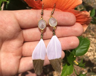 Gold Dusted Gypsy Feather Earrings with Moonstone