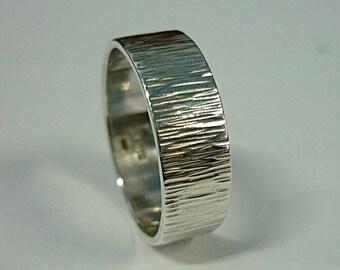 6 mm Wide Tree Bark Ring, Rustic Wedding Band Ring, Plain Band Ring, Hammered Ring, Textured Ring, Silver Tree Wedding Ring, Sterling Silver