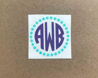 Two Color Monogram Decal | Dot Decal | Circle Monogram Decal | Polka Dot Monogram | Laptop Decal | Car Decal