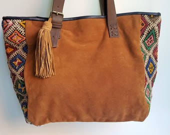 Unique Kilim and Leather Tote Bag / Brown Leather Tote Bag / Boho Style Bag / Ethnic Tote Bag / Tapestry Leather Bag