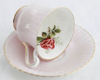 Paragon Pink TEACUP  pale pink and offwhite base, lovely red fullblown rose inside the cup,  by appt to Her Majesty the Queen, gold gilt rim
