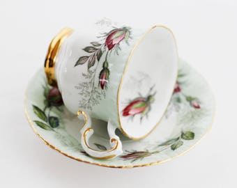 Sweet PARAGON ,England ladies'demitasse cup and saucer, lovely pale green band, pink roses, goldgilt foot, pattern 860.