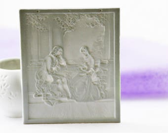 Vintage porcelain lithopane panel ft. a Victorian couple, made by PMP, Germany, c1970s.