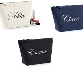 PERSONALISED MAKE UP Bag Case Your Name Washbag Cosmetic Toiletry Bag Christmas Birthday Present
