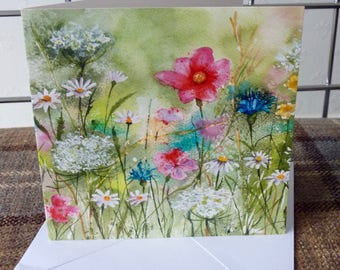 Meadow Flowers, a greetings card from a watercolour by Pauline Merritt