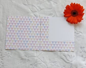 Thank you card (12x12 cm) with a triangle pastel pattern. Birthday card, invitation.