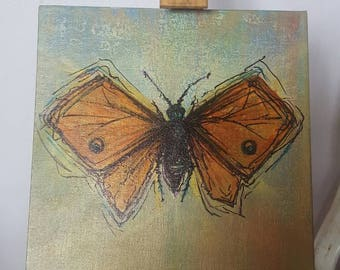 Moth painting 8x8, bug, insect,natural, butterfly