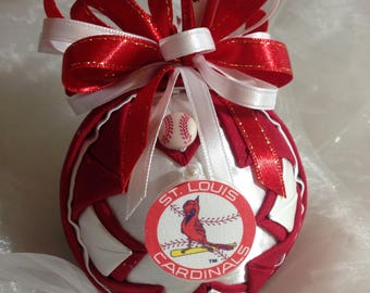 Cubs/Cardinals divided House Ornament