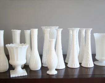 17 assorted milk glass vases, wedding or party