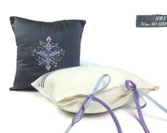 SALE | Decorative Throw Pillow | Grey Pillow | Linen Pillow | Embroidered Sofa Pillow | Designer Pillow, Girlfriend Gift