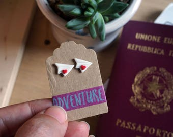 Studs Origami paper airplane Travel in fimo