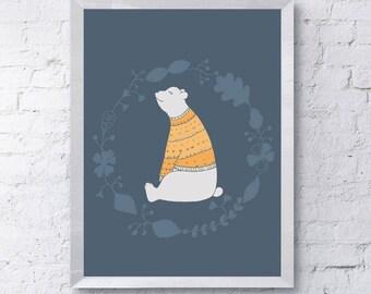 cute wooly bear Scandinavian nursery art Print, printable download, wall art