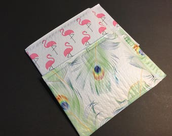 50 SALE 6x9 FLAMINGO and PEACOCK  Bubble Mailers Size 0 Self Sealing Shipping  Padded Envelopes 25 Each
