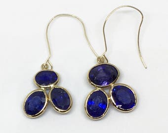 14K Yellow Gold Natural Sapphire (10.10 ct) Earrings, Appraised 1548 USD