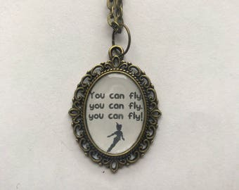 Peter Pan You Can Fly Cameo Necklace
