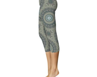 Capris - Tribal Yoga Pants, Mandala Patterned Boho Leggings, Printed Leggings for Women
