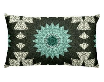 Mandala Design Decorative Pillows, 20x12 Lumbar Pillow, Cushion, Throw Pillow in Green and Blue